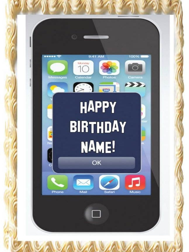 Cell Phone IPHONE Theme Party EDIBLE Cake Topper Image | Etsy