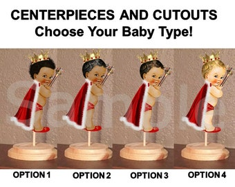 Pre Cut Red White and Gold Fur Cape Little Royal Prince Centerpiece with Wood Stand OR Card Stock Cut Outs, Babies of Color, Baby Shower