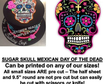 Black Mexican Sugar Skull Day of the Dead Edible Cake Topper Image, Sugar Skull Cake, Sugar Skull Decal, Day of the Dead Cake, Sugar Skull