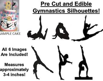 Pre Cut Gymnastics Silhouettes EDIBLE Cake Stickers Decals Cupcakes, Gymnastics Cake, Gymnastics Cupcakes, Tumbling Gymnastics Edible Image