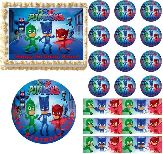 Pj Masks Edible Cake Topper Pj Masks Edible Cupcakes Pj Etsy