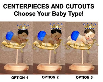 Pre Cut Royal Blue Gold Sleeping Little Prince Baby on Pillow Centerpiece with Wood Stand OR Card Stock Cut Outs, Sleeping Baby Gold Pillow