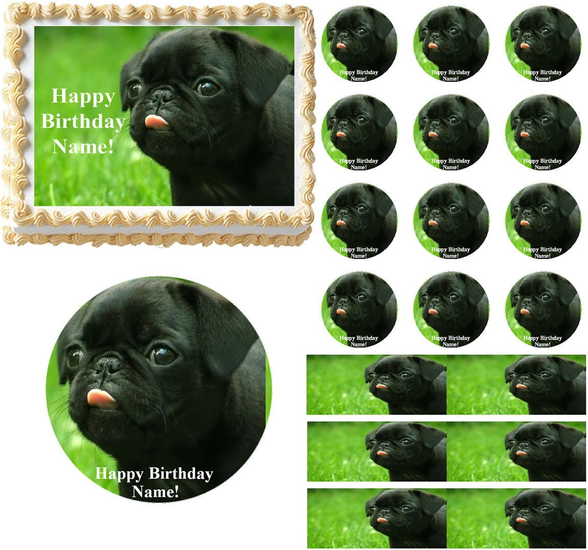 Pug Dog Edible Cake Topper Image Frosting Sheet Cake Etsy