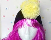 Kids Winter Hat, Pom Pom Mohawk, Ear-flap kids hat, punk Crochet hat, Boys hat, girls hat, youth hat, children 39 s beanie, Pomahawk skull cap