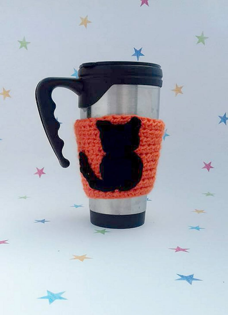 Cat Mug Sleeve, Tea Cosy, Commuting Gift, Eco Friendly, Cat Lover Gift,  Pussy Cat Applique, Travel Cup Sleeve, Black Cat