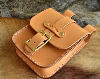 Natural leather hip bag