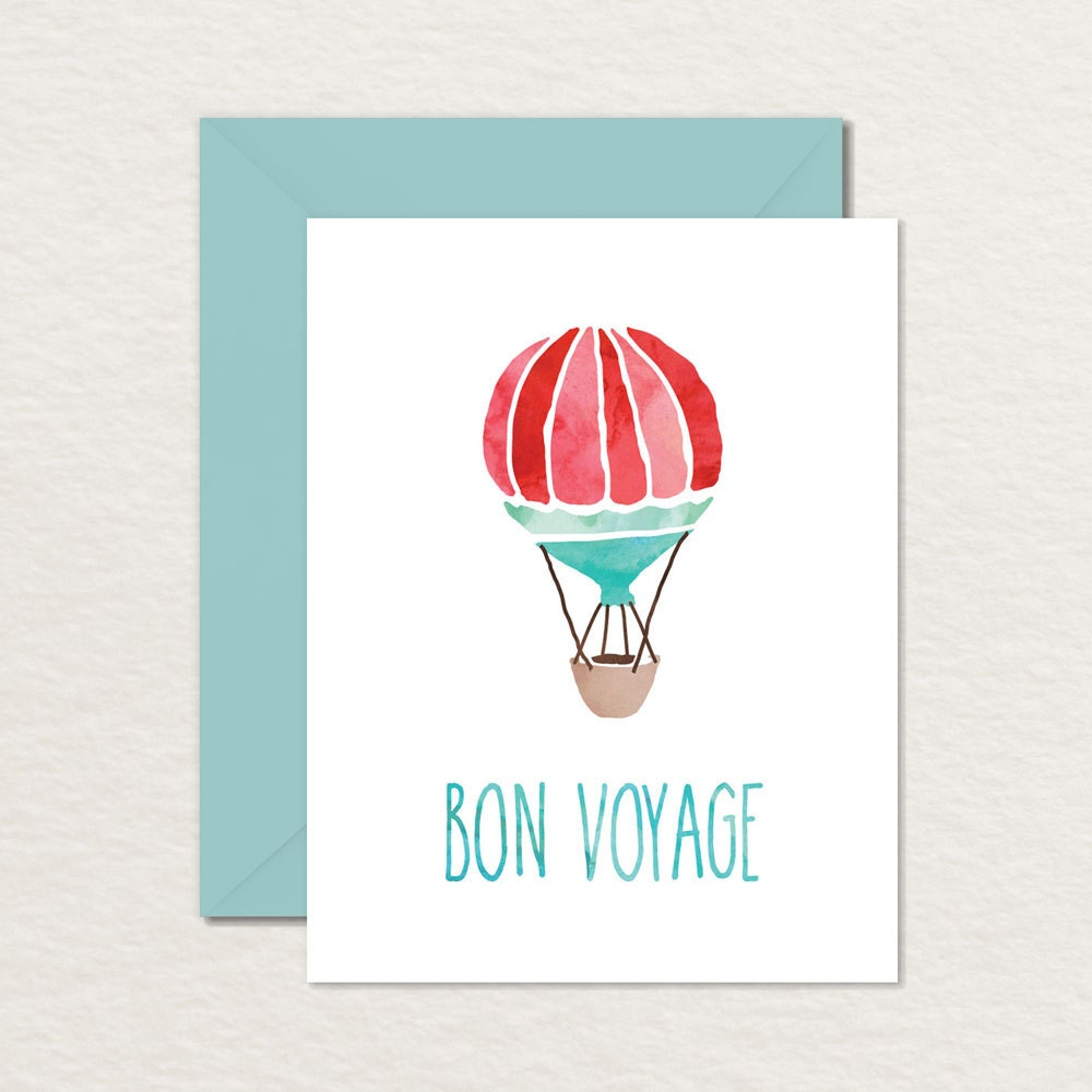 graphic relating to Printable Farewell Card titled Printable Goodbye Farewell Card / Printable Bon Voyage Card / Watercolor Very hot Air Balloon A2 Printable Greeting Card