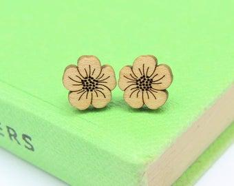 Buttercup Stud Earrings | Laser Cut Nature & Flower Jewellery