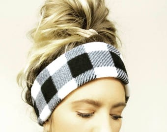 B&W Buffalo Plaid Fleece Headband