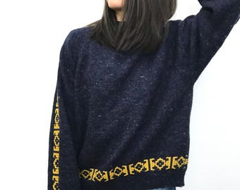 Gorgeous Navy Wool Sweater With Mustard Detailing