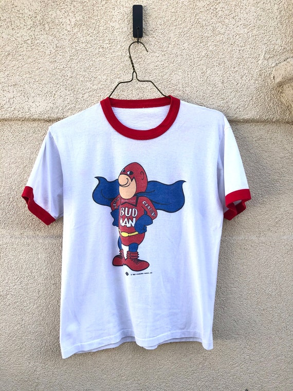 Vintage 80's Budweiser Bud Man Ringer T-shirt
