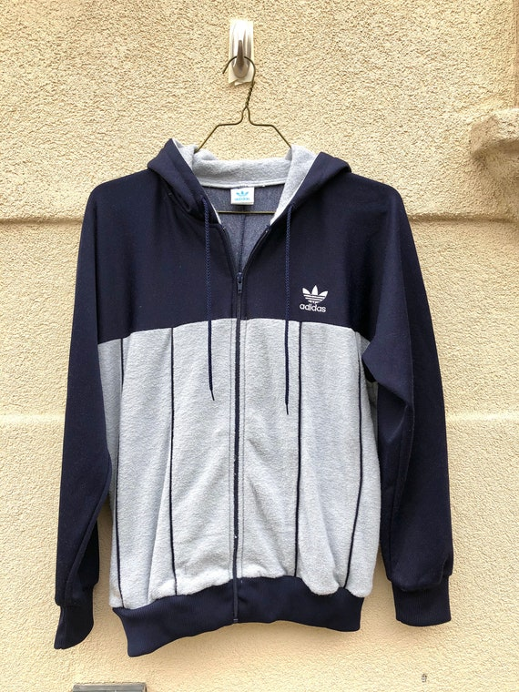 Vintage 80's Adidas Track Jacket Zip Up Terry Clot