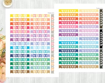 Weekend Stickers, Weekend Banner Stickers, Personal Planner Stickers, Printable Stickers