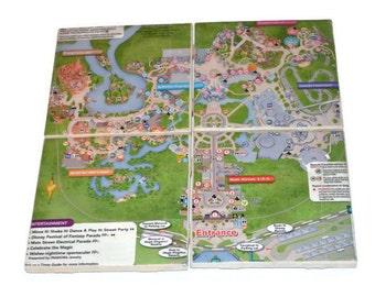 Disney World Park Map Coasters Set of 4 Magic Kingdom