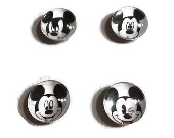 Mickey Mouse Magnets Set of 4 Glass
