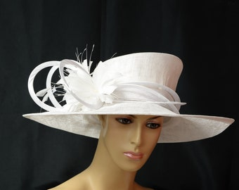 New High Quality White WIDE-BRIM sinamay Lady hat ba476c9e7