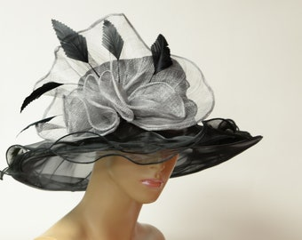 8359e21b2d0 2019 collection New High Quality Black grey Organza Hat