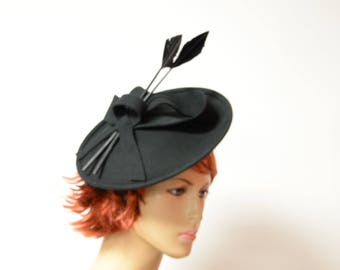 Black wool fascinator with feather 9cf5913497f