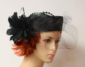 Black Sinamay hat with veil and feather 0f5cd7df316