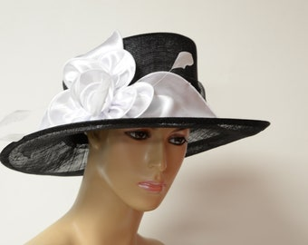 45828f6a 2019 collection New High Quality Black/white Sinamay hat, Kentucky Derby,  Queen's Plate Hat, Wedding Hat,Formal Hat, Dressy Hat, Church Hat,