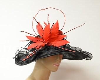 Foldable black red organza Kentucky Derby Hat db3c81a57a64