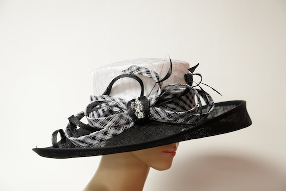 b692aa09 New 2019 collection Black/white Sinamay Wide brim hathigh   Etsy