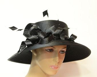 Black Satin lady hat, Elegant, Beautiful, Kentucky Derby Hat, Wedding Hat, Formal Hat, Dressy Hat, Church Hat, Downton Abbey,