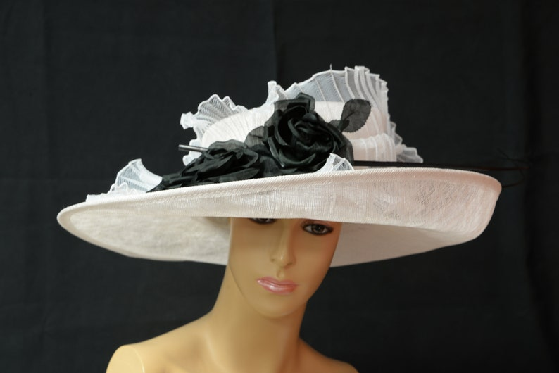 27feeb589f21e 2019 Collection New High Quality White black Sinamay Hat