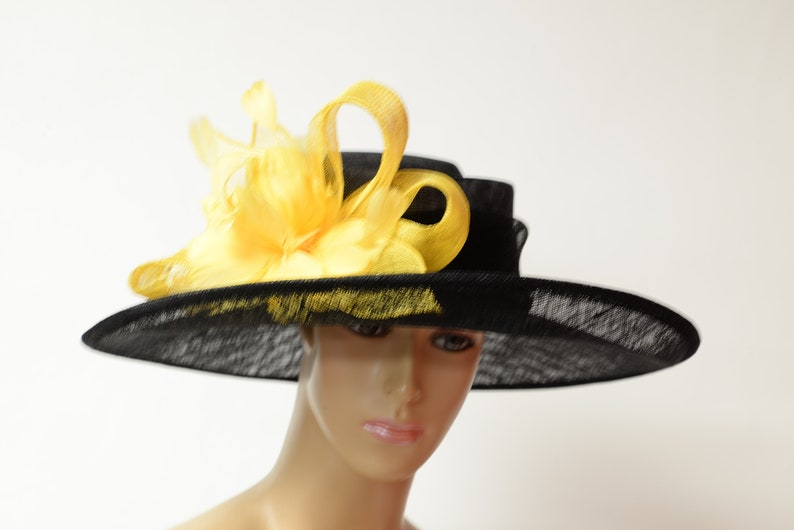e5e1f5f9 2019 collection New High Quality Black/yellow Sinamay hat   Etsy