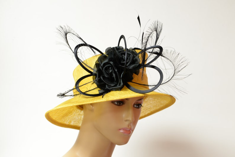 ab5523b1 New High Quality Yellow hat/black bow Sinamay Kentucky Derby   Etsy