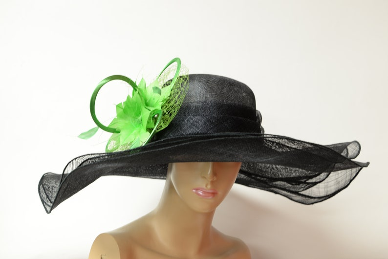 5f22978c 2019 collection New High Quality Black/Green Sinamay Hat Huge   Etsy