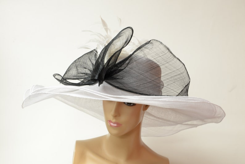 41ab98c8 2019 collection New High Quality Black/white Sinamay hat   Etsy