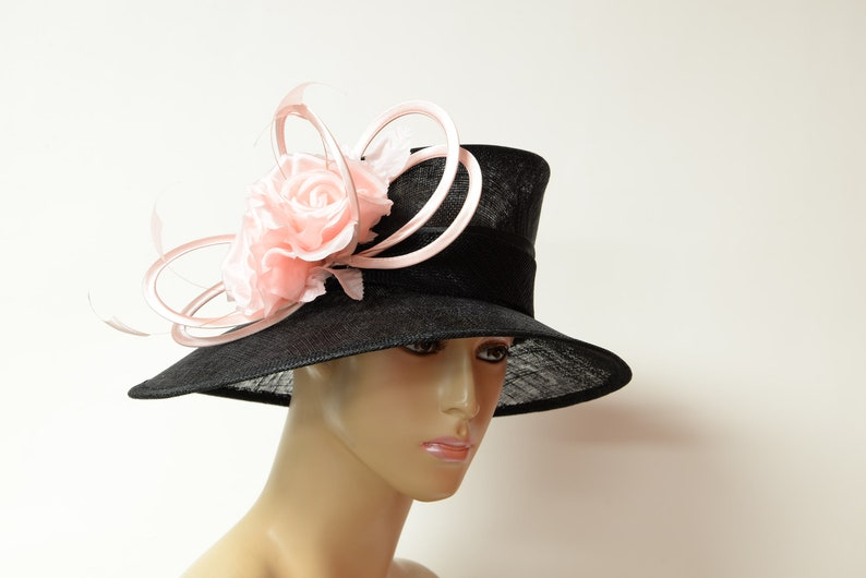b187827560c New 2019 collection High Quality Black Pink Sinamay Hat