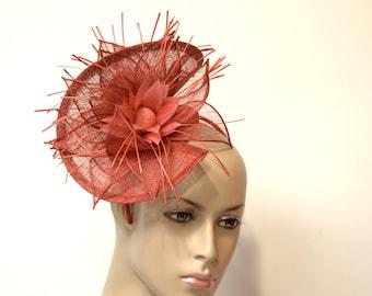 RED Fascinator Kentucky Derby Hat, Wedding Hat, Formal Hat, Church Hat