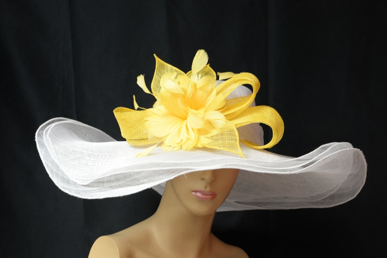 acc71b71b98ff New 2019 collection High Quality white yellow Sinamay Hat