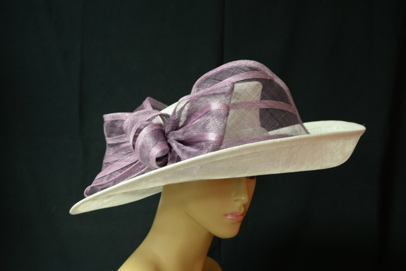 8552937d925d6 2019 Collection New High Quality White Purple sinamay hatWide