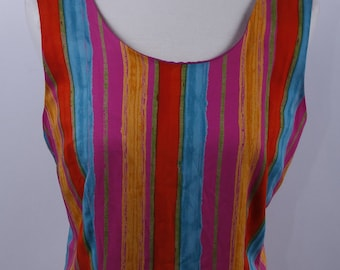 Sleeveless Wrap Skirt Summer Dress .Abstract Flowers  Pink Yellow Green Orange  Keyhole Open Back Vintage Bold Colors Dress* Size 8