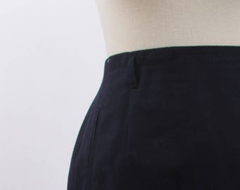 Navy Blue Pencil Skirt, Rafaella, Petites, Worsted Wool, Black, Pencil, Skirt, Vintage, Midi, Formal, Fitted, High, Waist, Office ~ 161212