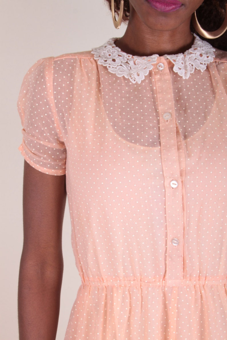 Peach, Polka Dot Dress, See Through, Sheer, Baby Doll, Lace Collar, Button Up, Innocent Dress, Light Pink ~ Boom Thang ~ 170215