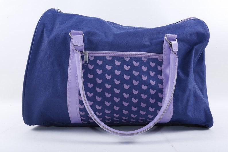 Purse ~ 20-01-140 Zipper Blue Zip Up 1980/'s Bag Exercise Bag Handles Vintage Hearts Hand Bag Gym Bag Purple Handbag Collection