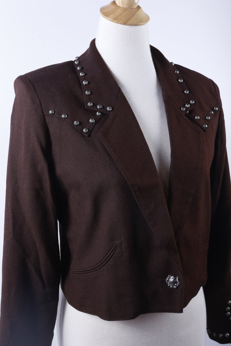 3acb440585 Country Western Brown, Rivets, Short Jacket, Buttons, Long Sleeves, Padded  Shoulders, Size M, Gerard, PeGe, Clothes, Vintage, ~ 161006