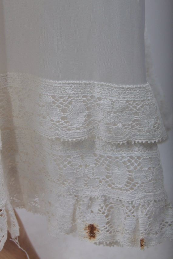 Neck Zipper Dress 1960's Long White FLAW Closed White Dress Zip Wedding Lace Stunning Hippie Small Lace ~ Ruffles 161216 Vintage 8wFqxA