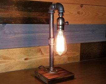Table lamp etsy simple lamp desk lamp industrial lamp edison light table lamp vintage pipe lamp loft lighting bulb included aloadofball Image collections
