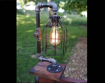 Cage lamp etsy cage lamp lamp desk lamp industrial lamp edison light table lamp vintage pipe lamp loft lighting greentooth Choice Image