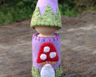 Purple Gnome in mushroom outfit, handmade, Waldorf inspired, natural storytelling peg doll