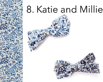 Liberty Hair Clip - Liberty print mini bow - Hand Tie bow - Baby hair accessories - Pigtail Bow - Katie and Millie - Gift for girls -