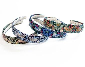 William Morris Headband -  strawberry thief - Ladies Hair - Floral Headband - Girls Hair Band -  Liberty Hair Bow - Hair accessories