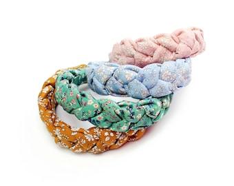 Plaited Headband - Liberty Print - Braided Alice Band - Deep Padded Hairband - Adult headband - VSCO Girl Accessories - Puffy Braid Headband