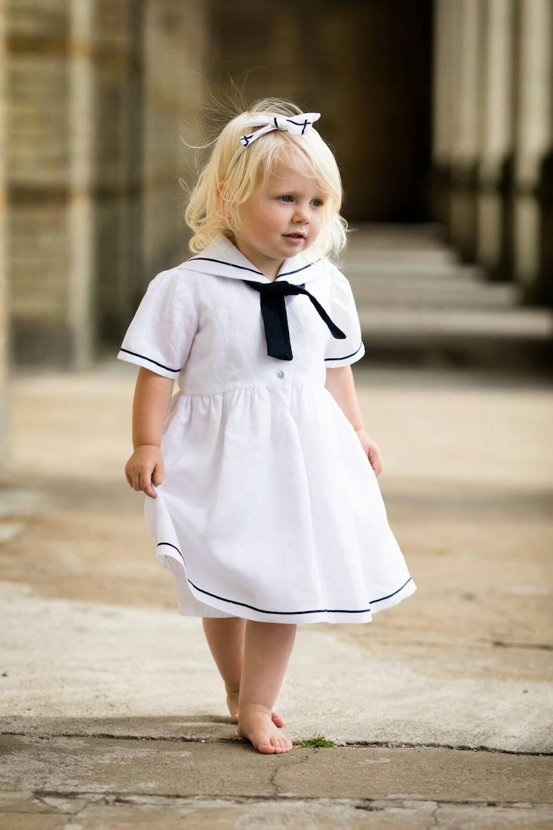 851139923bbe7 Girls Sailor Dress Nautical Dress White Christening Gown | Etsy