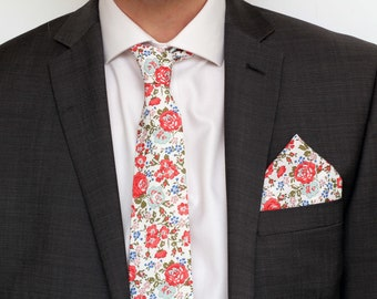 Liberty Print Mens Tie - William Morris Tie -  Matching Mens and Boys Tie - Men's Floral Tie - Groomsmen and Page Boy Tie -Daddy and me
